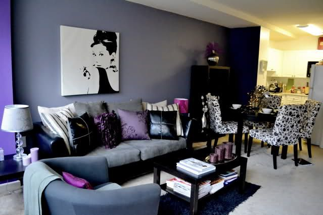 This is the prettiest living room\/dining room MY FUTURE CASTLE - purple and grey living room