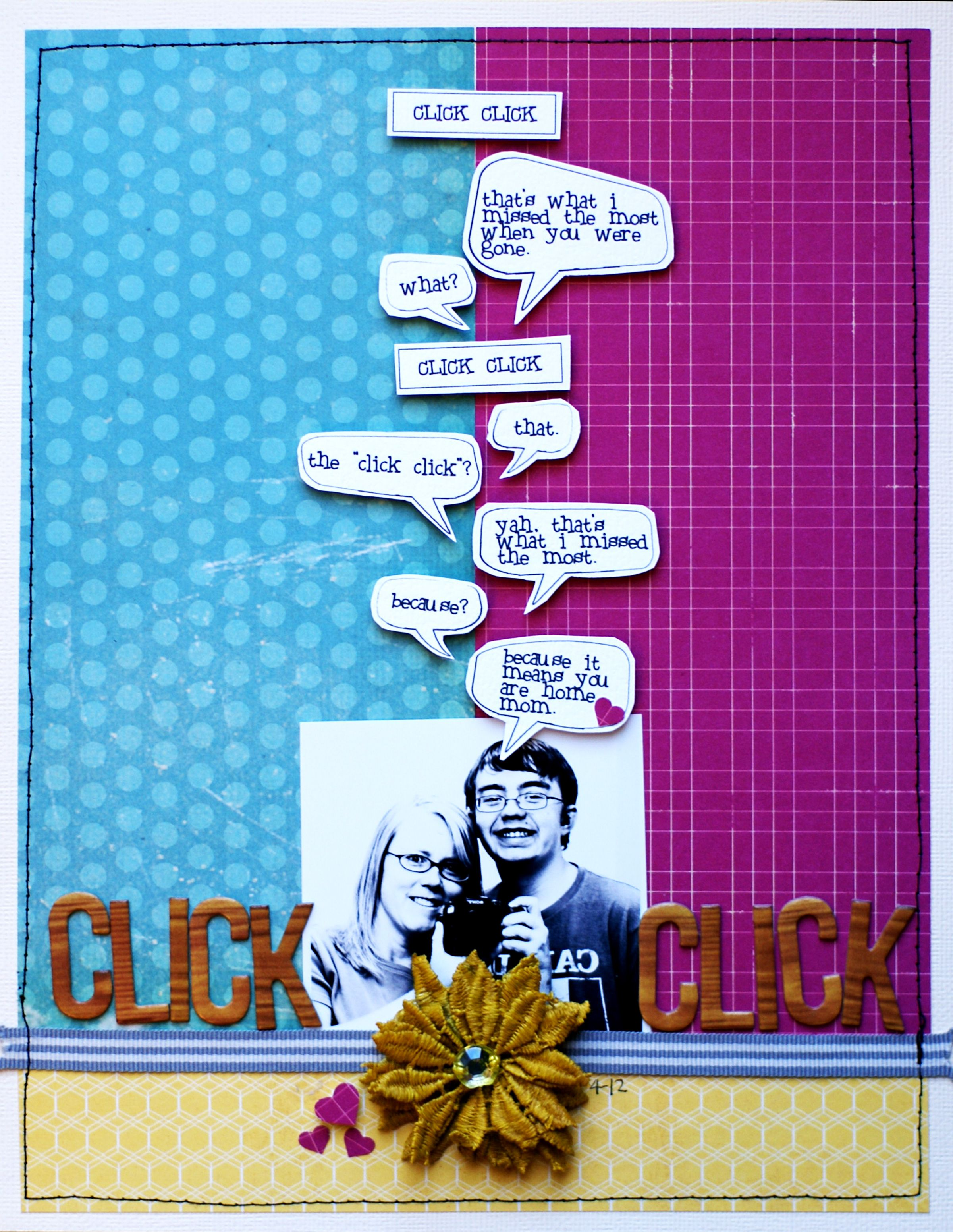 Talk bubbles are a trendy motif perfect for the scrapbook page