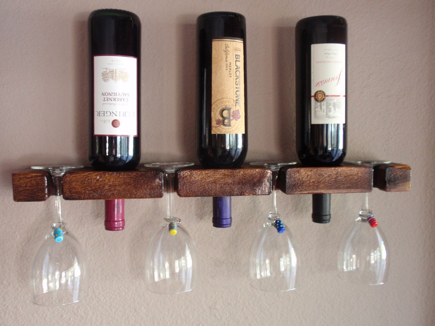 Wall Bottle Holders Wood Wall Wine Bottle And Glass Holder 3 Bottle 4 Glasses