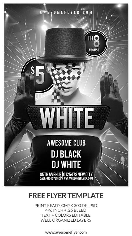 Black Flyer Template Glow In The Dark - Premium Flyer Template + - black and white flyer template