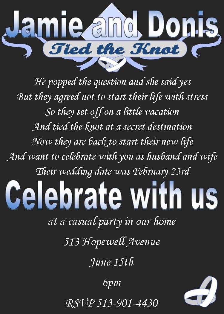 reception only wedding invitations After the Wedding Party Invitations or Elopement Party invitations spring