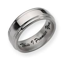 Titanium Grooved Edge 8mm Polished Men's Promise Ring ...