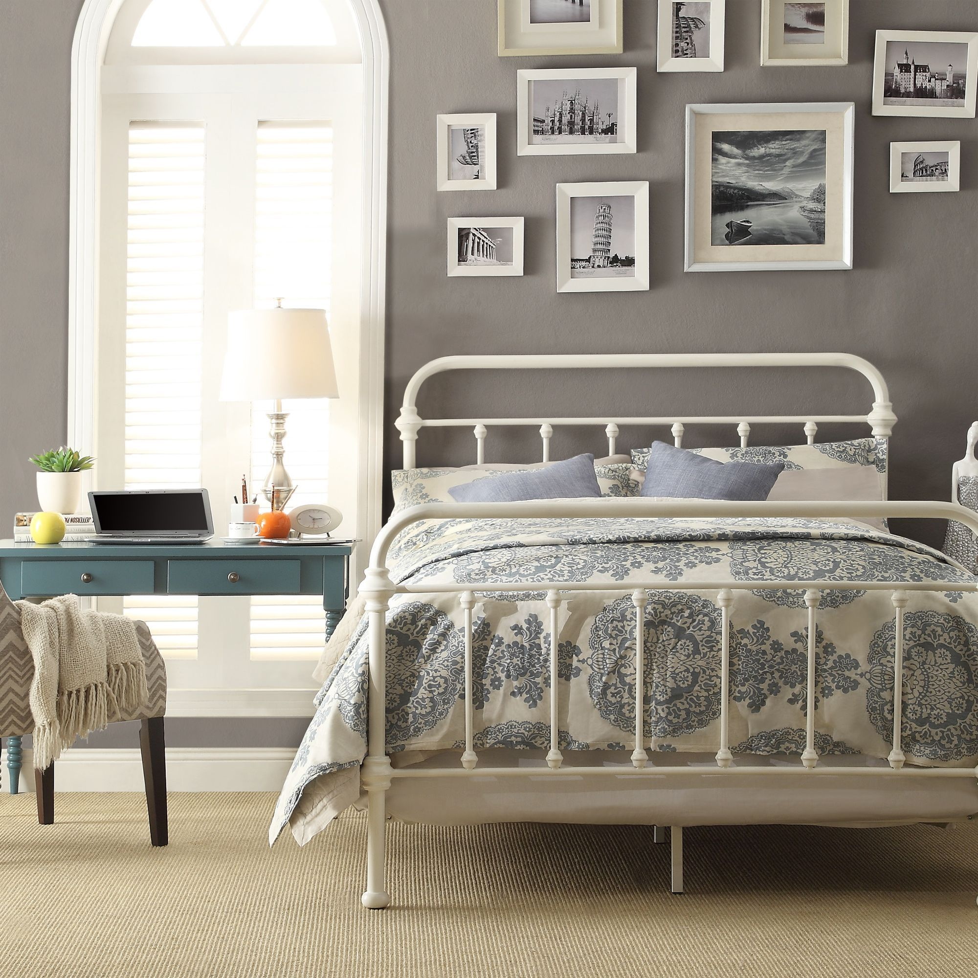 Giselle antique white graceful lines victorian iron metal bed by inspire q classic by inspire q