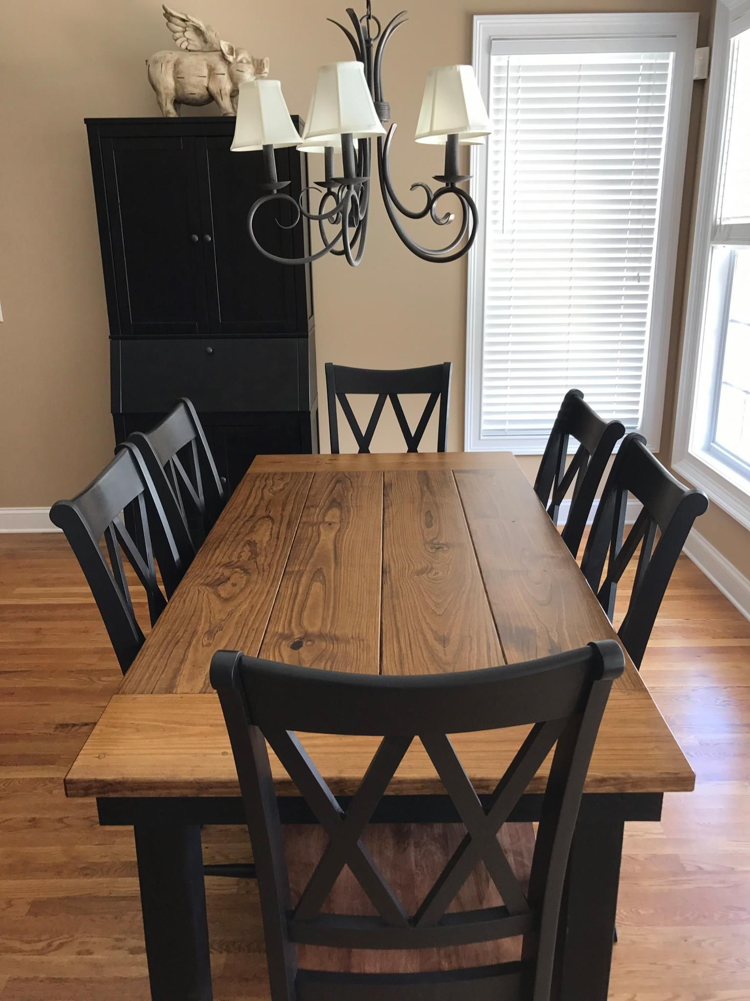 Black Farmhouse Table With Bench This 6 X 37 Farmhouse Table In Early American Stain On
