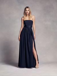 Long Strapless Midnight Blue White by Vera Wang Bridesmaid ...