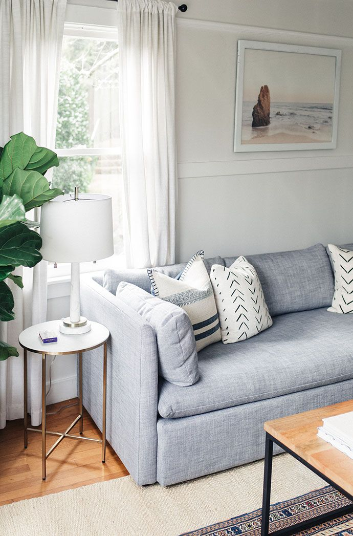 Step Inside A Dreamy 1940s Sausalito, California, Home 1940s - gray couch living room
