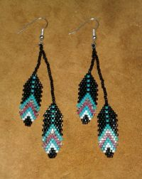 Beaded Feather Earrings by NiciasAccessories on Etsy ...