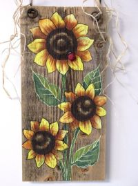 Sunflowers Yellow Tole Painted on Reclaimed by ...