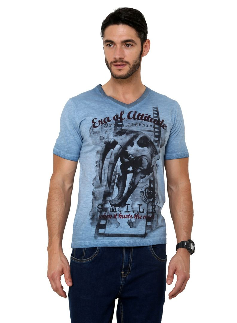 Pigment washed skull print sabertooth tiger faded half sleeve single jersey cotton blue t shirt