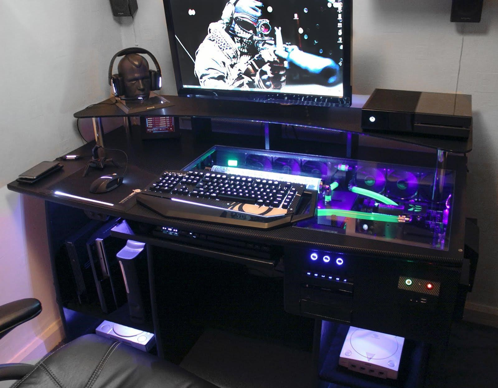 Pc Gaming Desk Custom Gaming Computer Desk Personal Space Pinterest