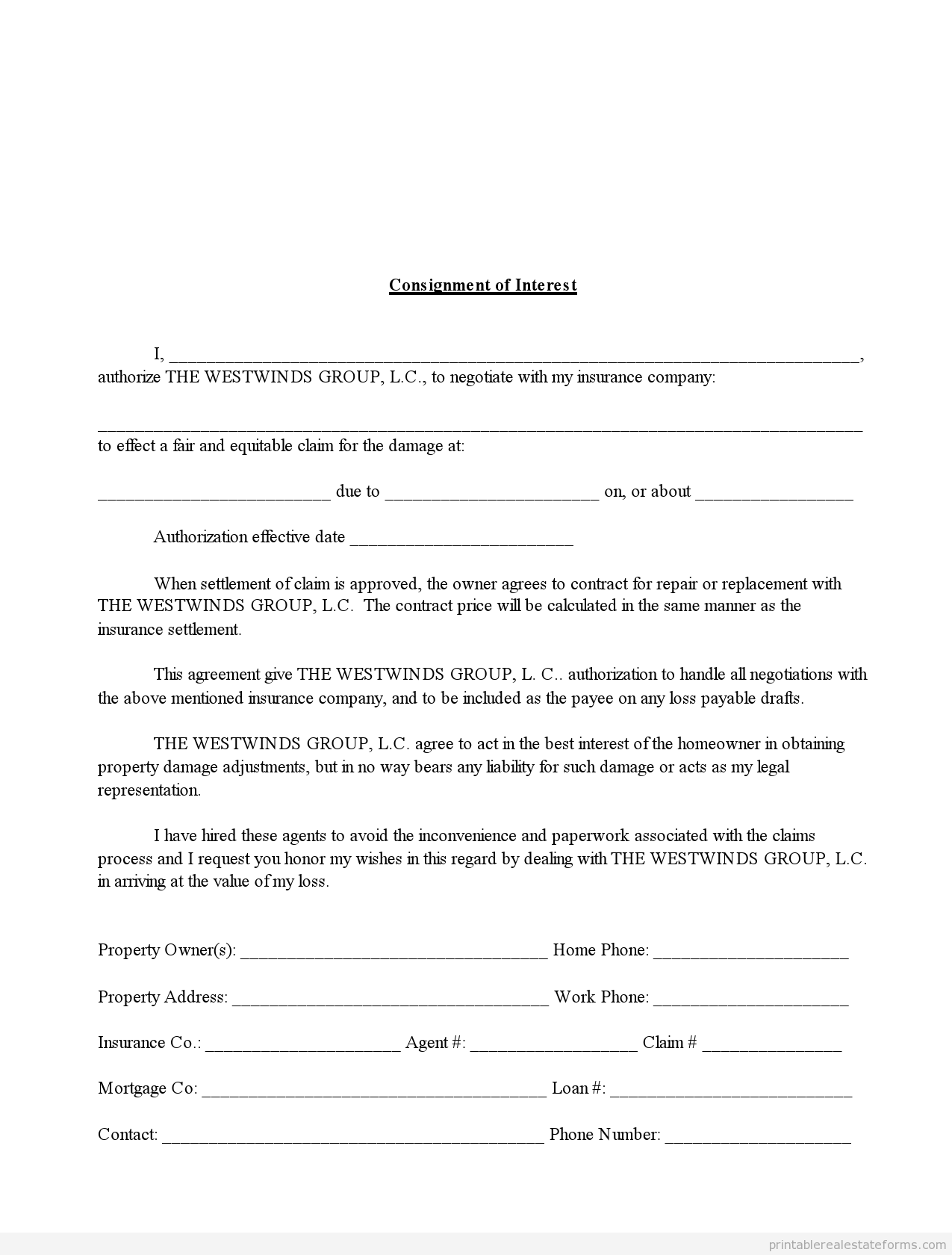 Sample Printable consignment of interest in insurance