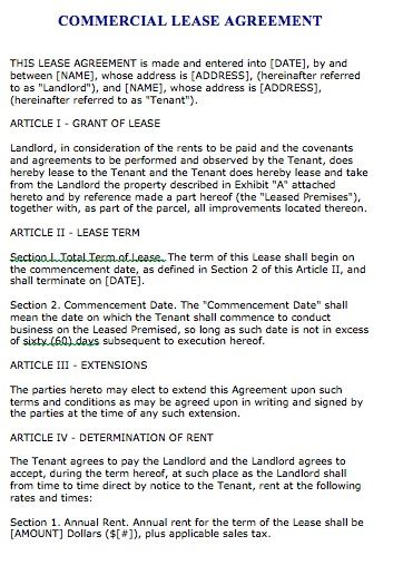 Free Florida Commercial Lease Agreement u2013 Microsoft Word - microsoft word rental agreement template
