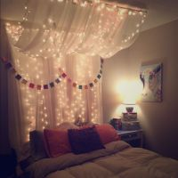 Full/Queen Bed Canopy with lights | White christmas lights ...