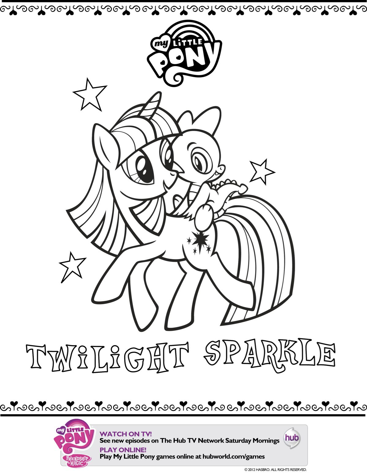 Mlp printable coloring pages my little pony twilight sparkle printable coloring page