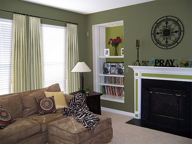 Living room with sage green paint colors - Maybe a wall in the - green living rooms