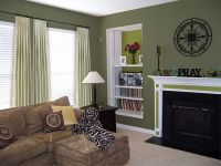 Living room with sage green paint colors - Maybe a wall in ...