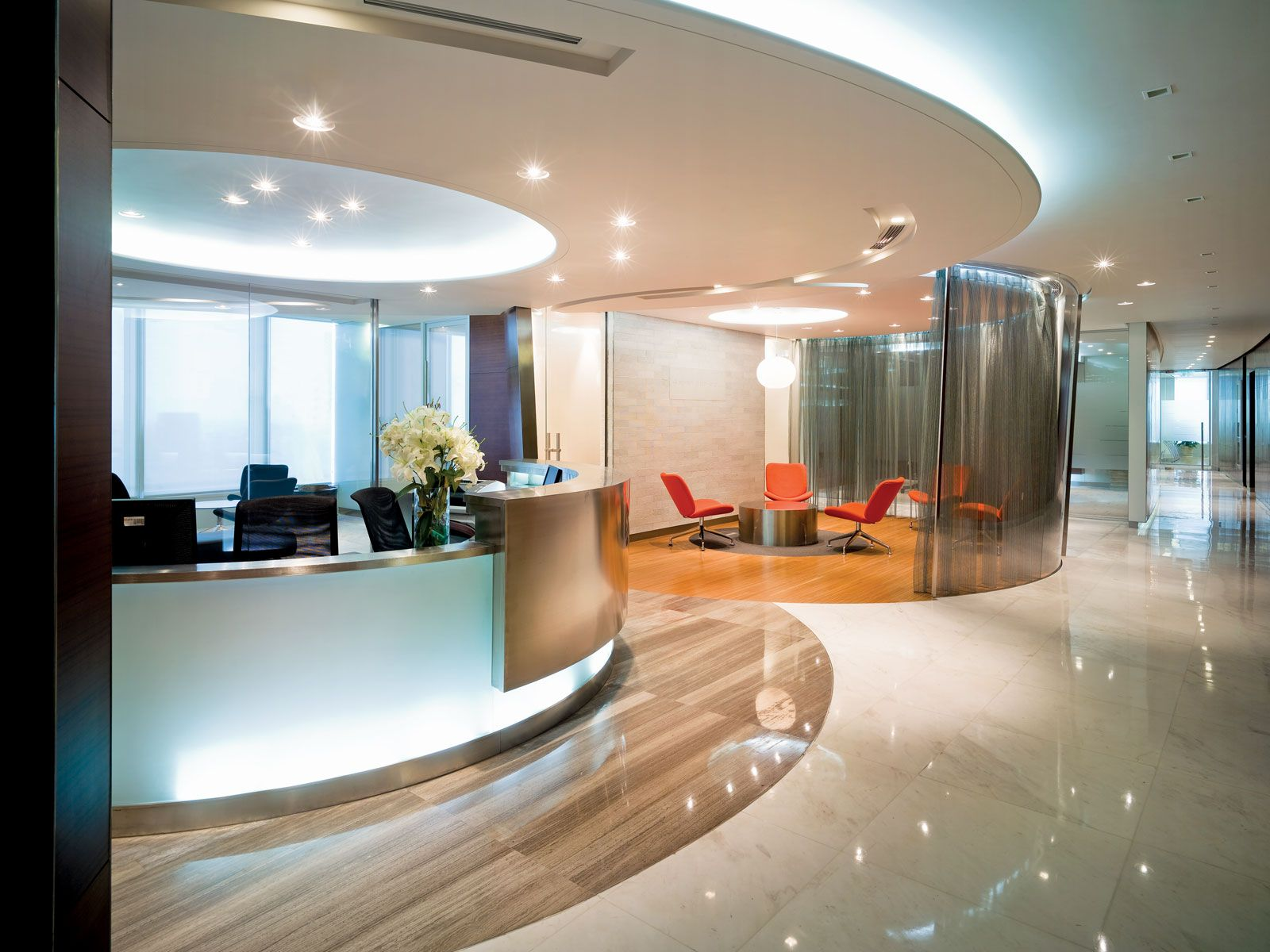 Executive Office Reception Design Modern Luxury Office Interior Reception Ideas With Round