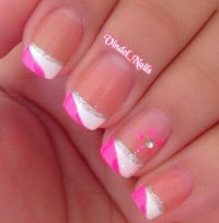 Pink White & Silver French Tip Nails | nails | Pinterest ...
