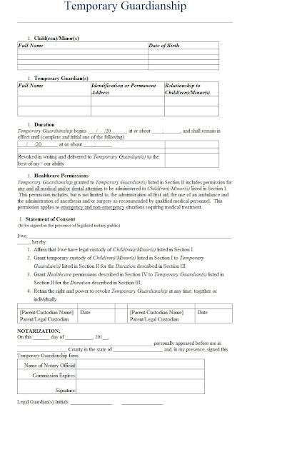 Temporary Guardianship Letter Template Sample Printable - temporary guardianship form