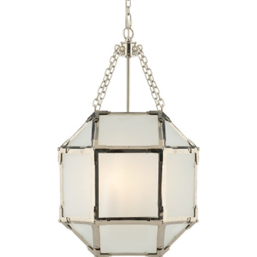 lantern kitchen lighting Visual Comfort SK Suzanne Kasler Morris 3 Light Small Lantern in Polished Nickel