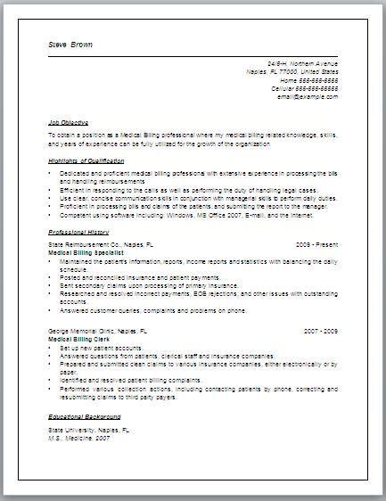 Job description for medical billing resume may include, but are - medical biller resume
