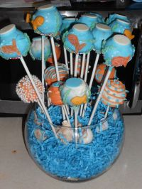 Fish bowl cake pops. For ocean/finding Nemo themed baby ...