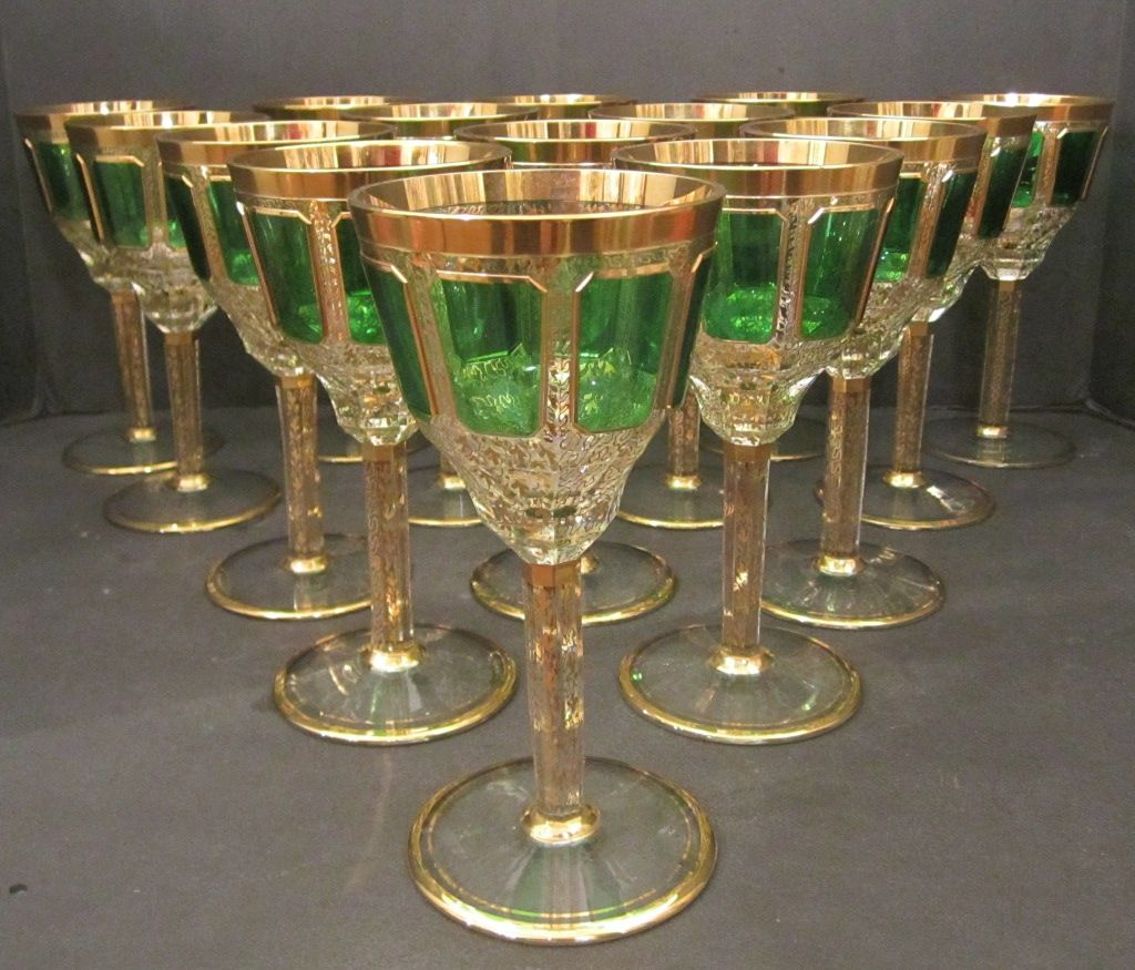 Crystal Stemware Wine Glasses Antique Moser Cut Crystal Gold And Green Wine Glasses