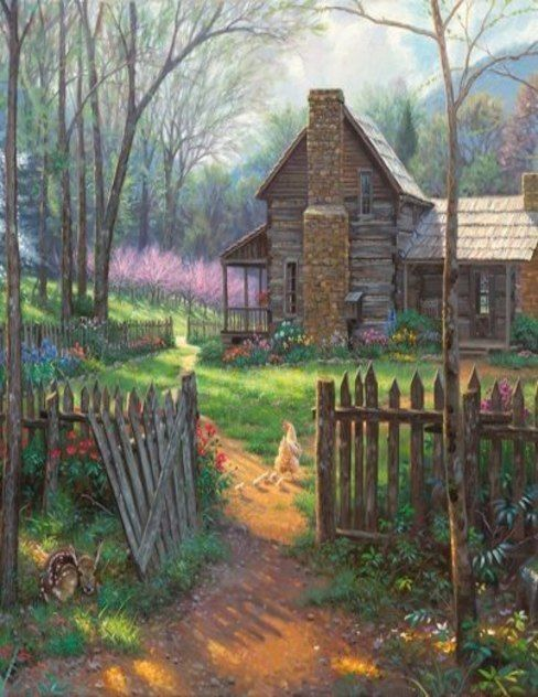 Fall Schoolhouse Wallpaper Old Farm House Painting So Sweet The Deer By The Gate
