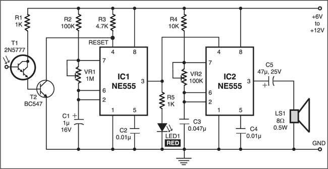 sensitive optical burglar alarm electronics project