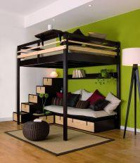 lit mezzanine adulte avec banquette et escalier, rangement ...