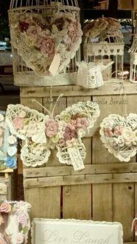 Beautiful shabby idea - Hearts, butterfly and crochet ...