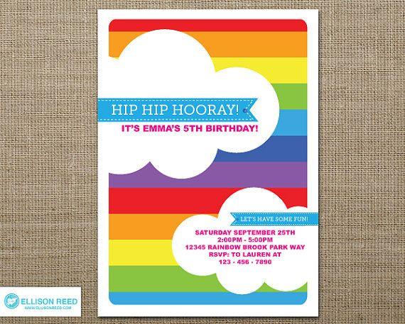 Rainbow Invitation Rainbow printable Rainbow by EllisonReed - free birthday invitations to print
