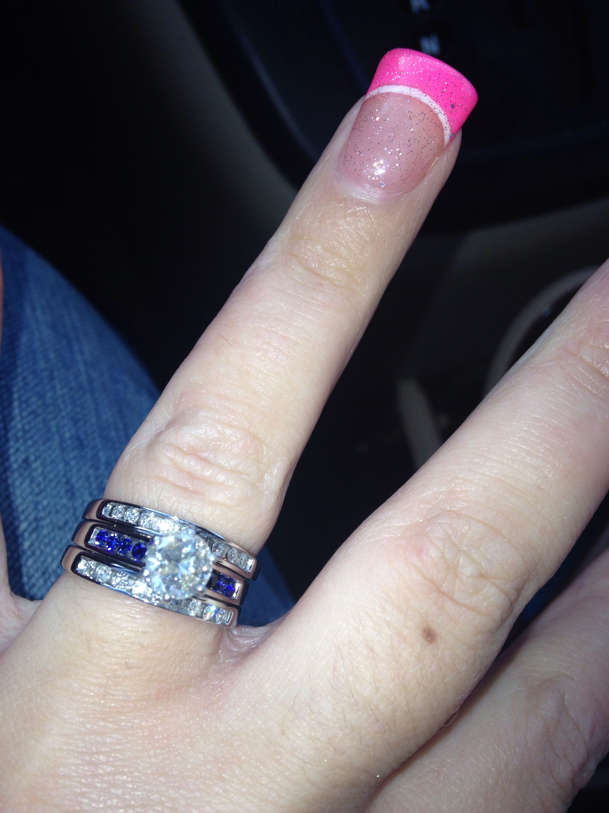 law enforcement wedding bands My new thin blue line wedding ring We replaced the diamonds for sapphires for our