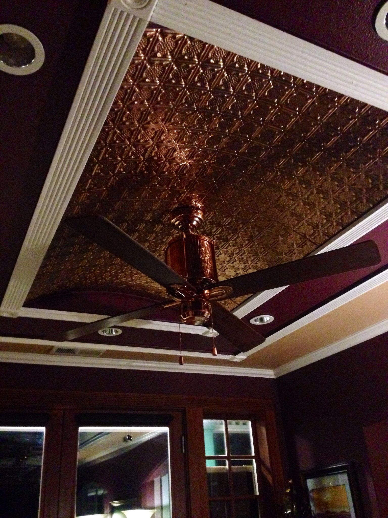 Antique Copper Ceiling Fan Copper Tiled Ceiling With A Copper Fan Something Like