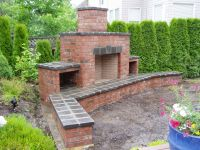 Bathroom Red Brick Outdoor Fireplace With Outddor Patio ...