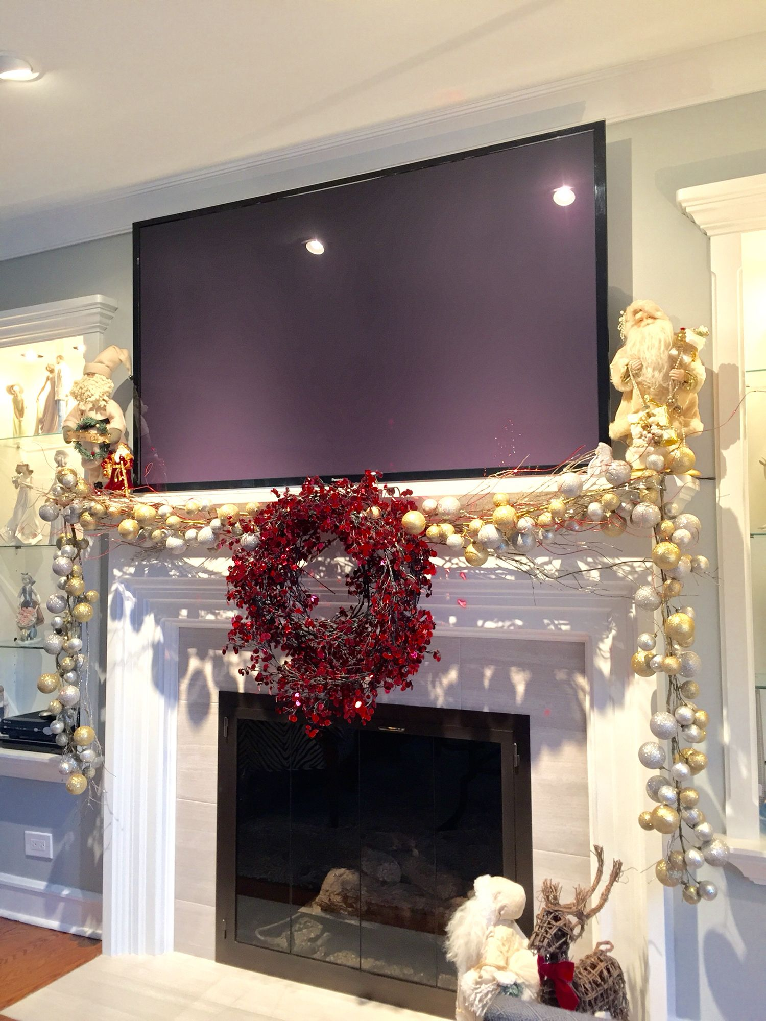 Fireplace Mantel Decor With Tv Mantle Decoration For Christmas With A Big Screen Tv
