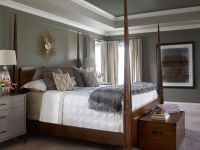 A tray ceiling painted with light and dark shades of gray ...