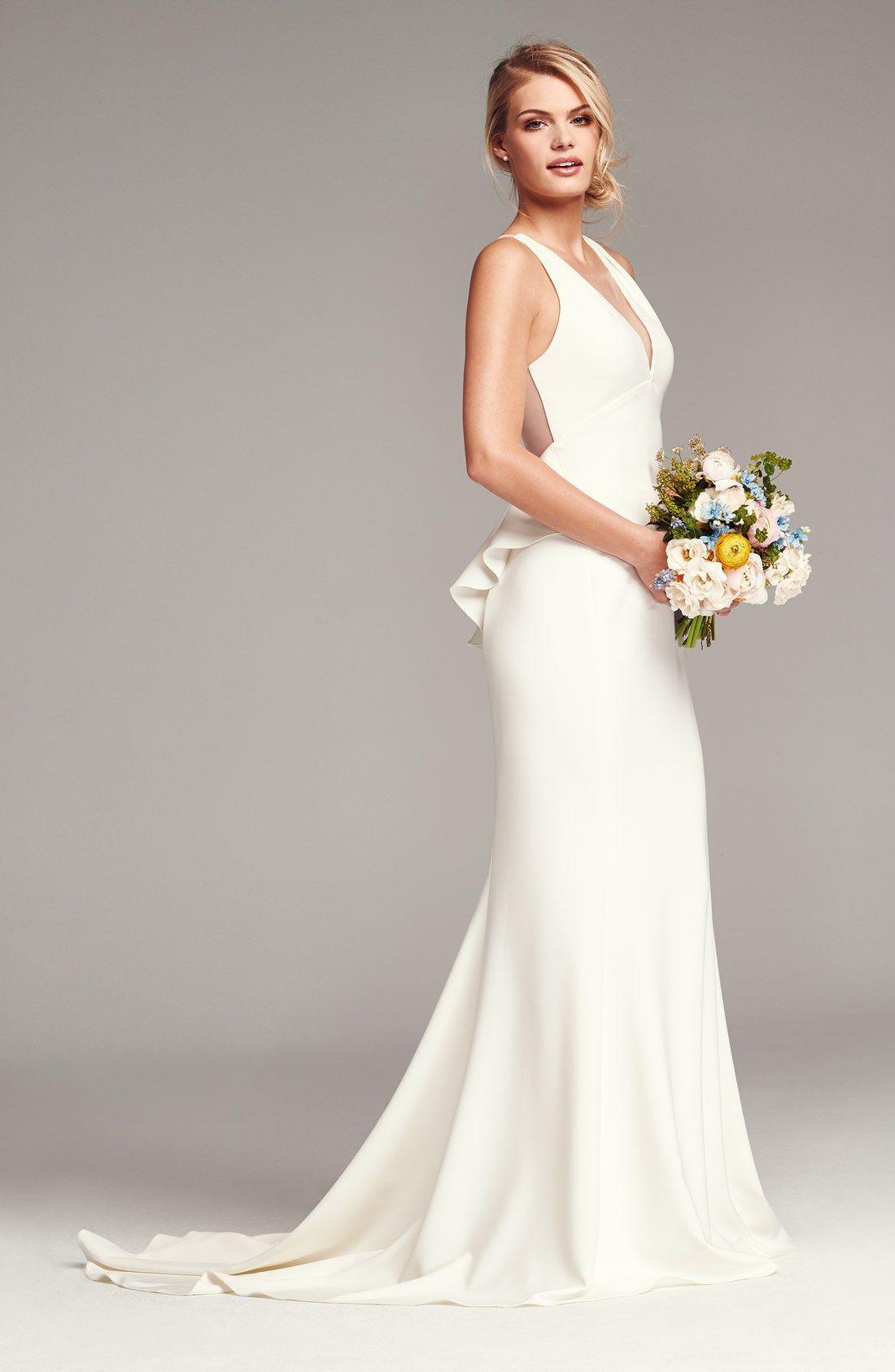 wedding dresses nordstrom Back Detail Flared Silk Crepe Gown