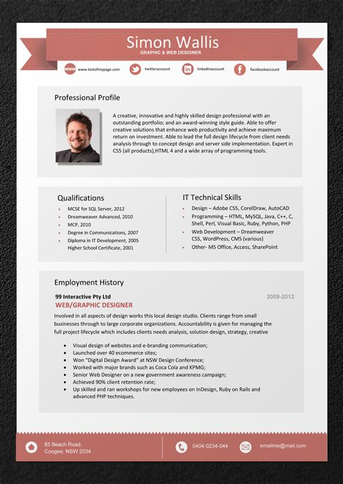 Format of a professional resume