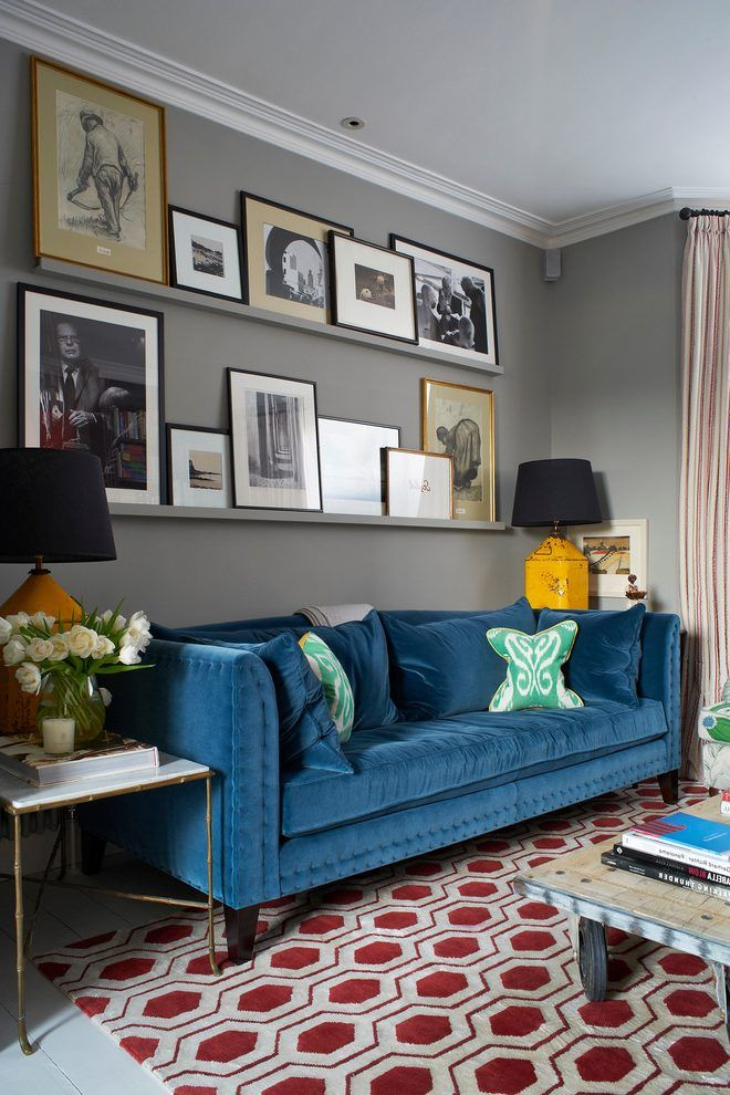 Colourful Living Room Living Room Transitional With Blue