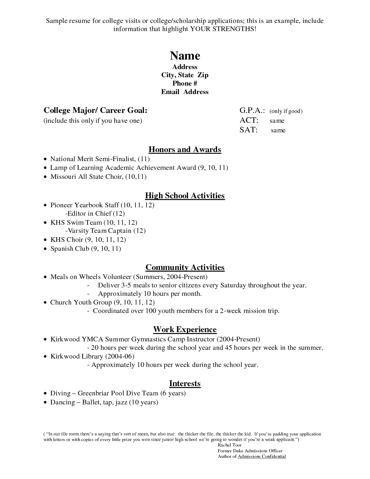 high school resume for scholarships