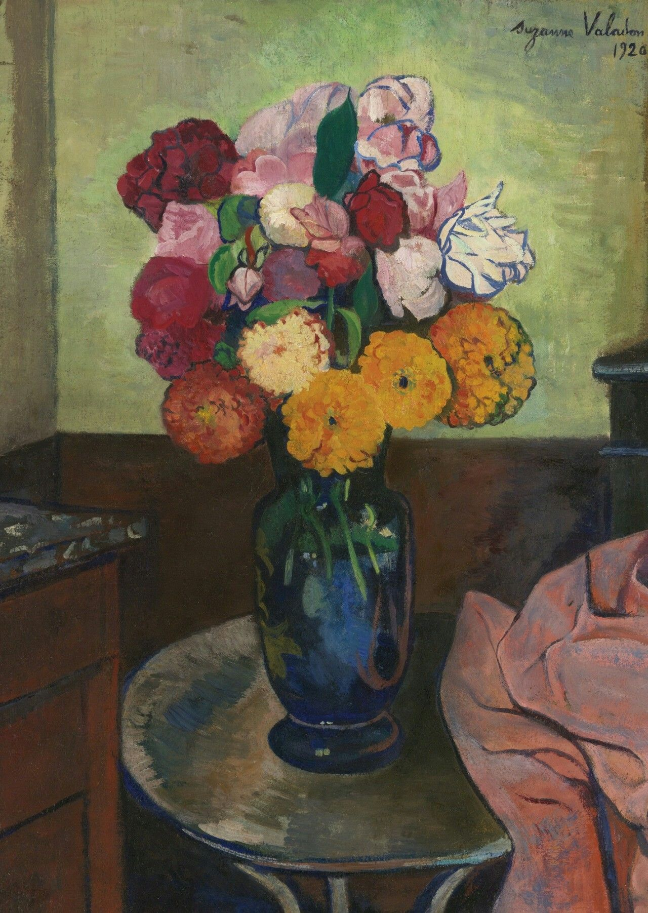 La Chambre Bleue Valadon Suzanne Valadon French 1865 1938 Vase Of Flowers On A Round