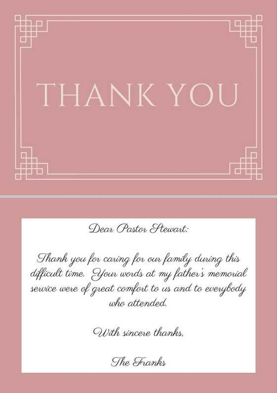 33+ Best Funeral Thank You Cards Funeral, Pastor and Note - invitation for funeral ceremony