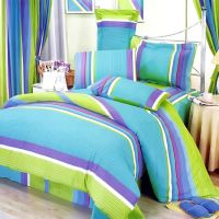 Lime Green Blue Purple Stripe Teen Girl Bedding Twin Full