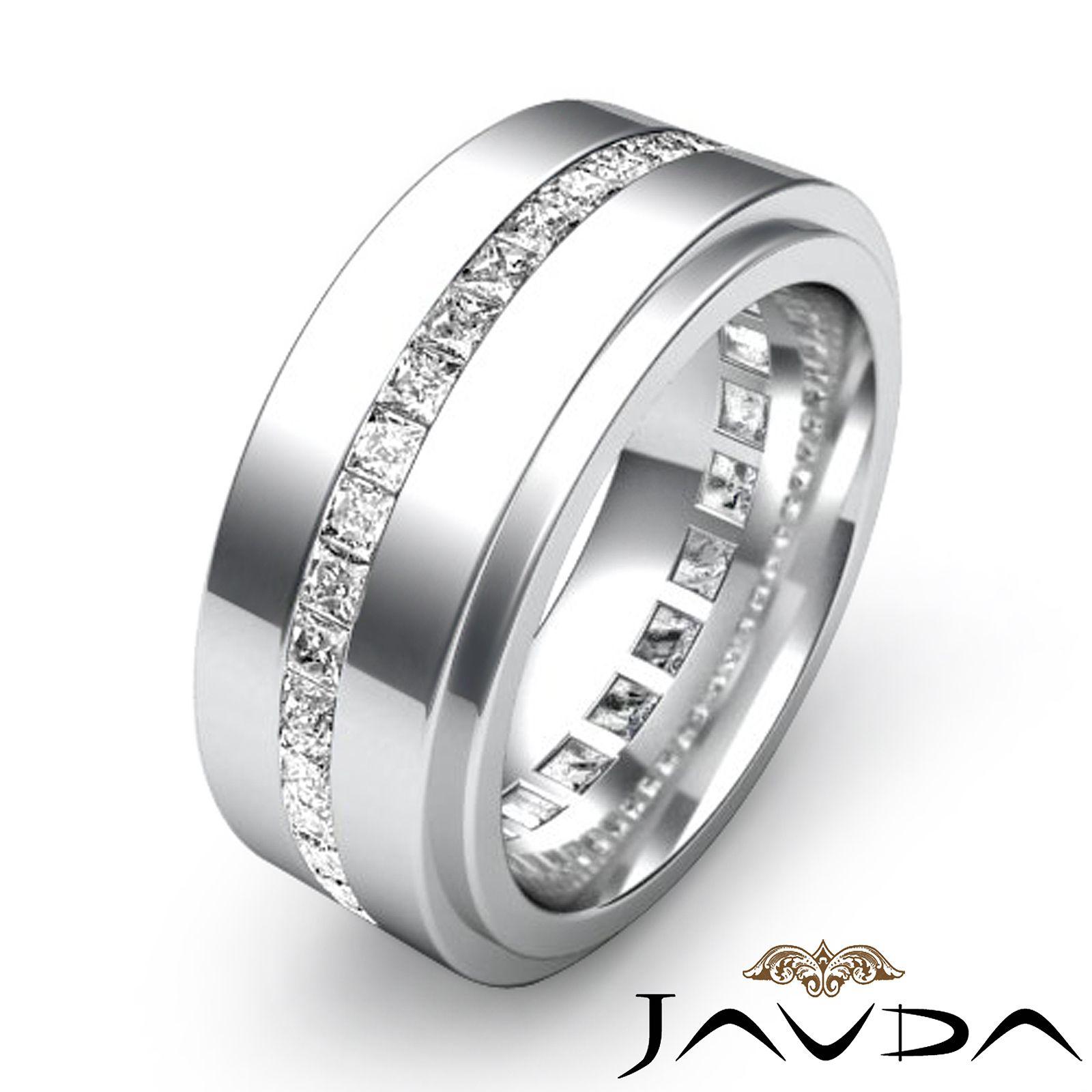 mens platinum wedding bands Men s Eternity Wedding Band Channel Set Princess Diamond Ring Platinum 1 7Ct