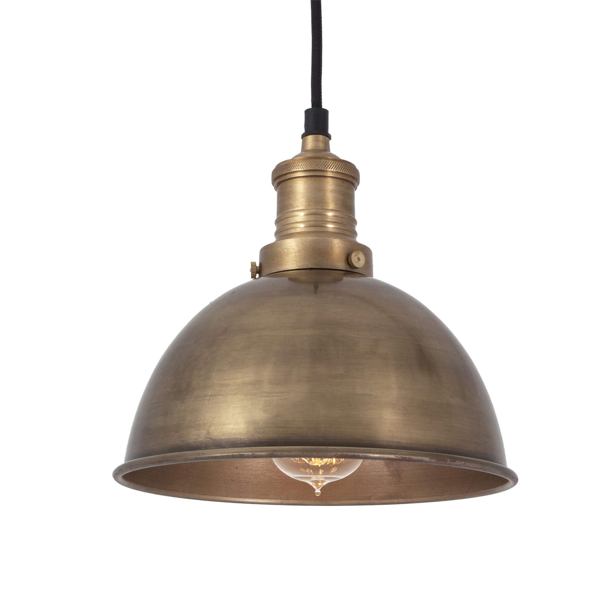 Kitchen Pendants Brooklyn Vintage Small Metal Dome Pendant Light Brass