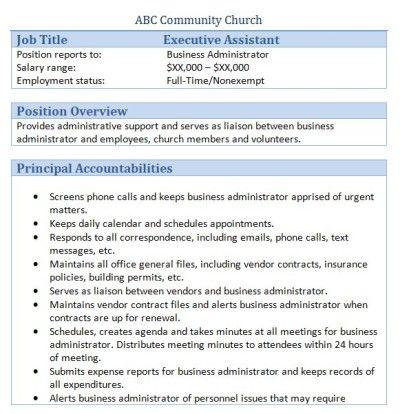 sample church employee job descriptions executive assistant job executive assistant job description