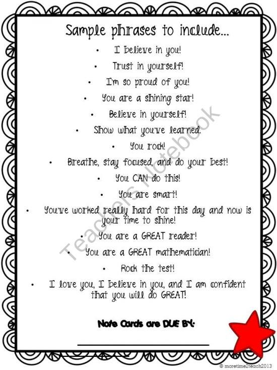 This is a great letter to give your students before they take a - encouragement letter template