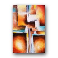 Art Painting Abstract Contemporary Art Teal and Peach ...