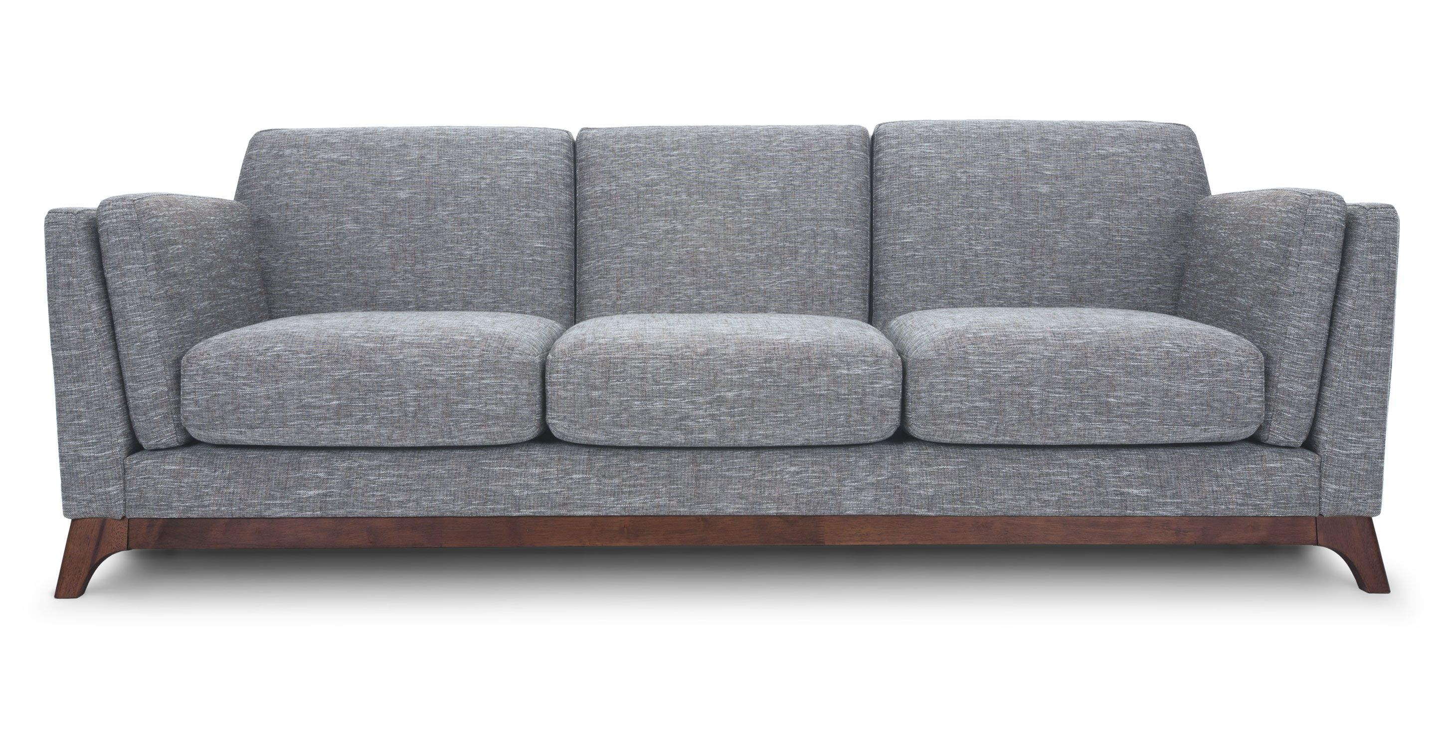 Moderne Sofa Gray Sofa 3 Seater With Solid Wood Legs Article Ceni
